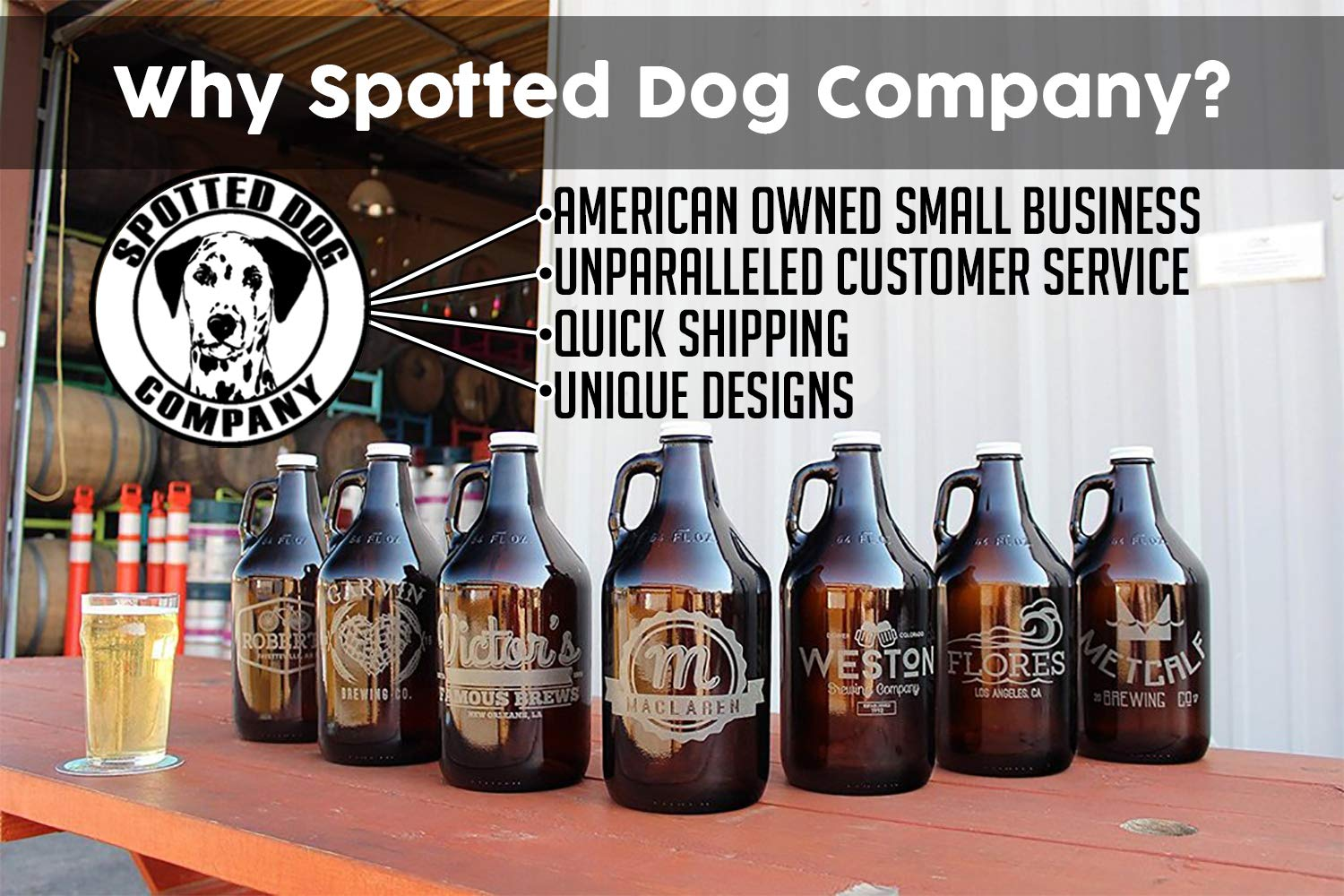 Personalized Etched 64oz Insulated Stainless Growler Groomsmen Gifts by Spotted Dog Company (Image #3)