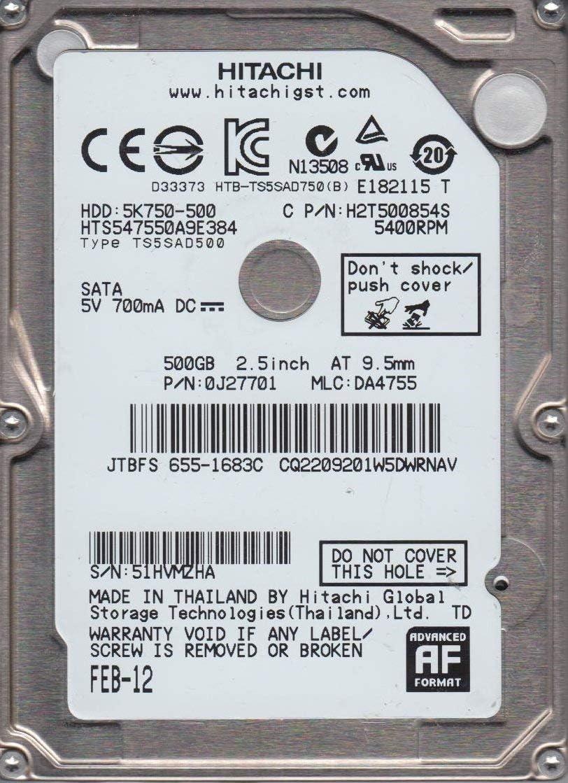 Hitachi 500GB SATA 2.5 Hard Drive PN 0J27701 HTS547550A9E384 Renewed MLC DA4755