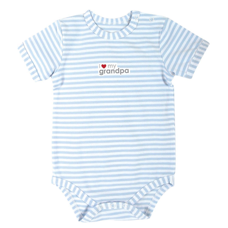 Stephan Baby Blue Stripe Snapshirt-Style Diaper Cover, I Love My Grandpa, 0-3 Months