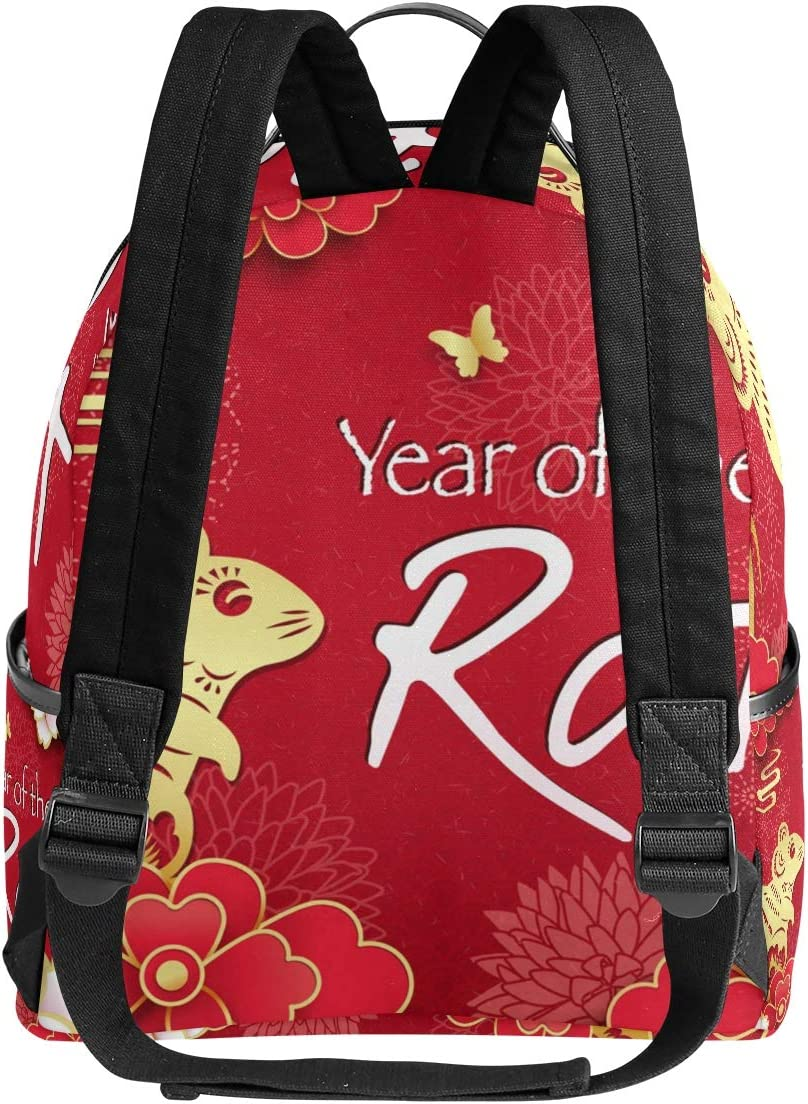 Happy Chinese New Year Of Rat 2020 Unisex Canvas School College Student Backpack Laptop Bags Rucksack Casual Daypack