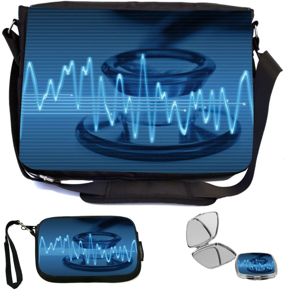 Rikki Knight Electronic Sine Sound Wave Stethoscope Design COMBO Multifunction Messenger Laptop Bag - with padded insert for School or Work - includes Wristlet & Mirror good