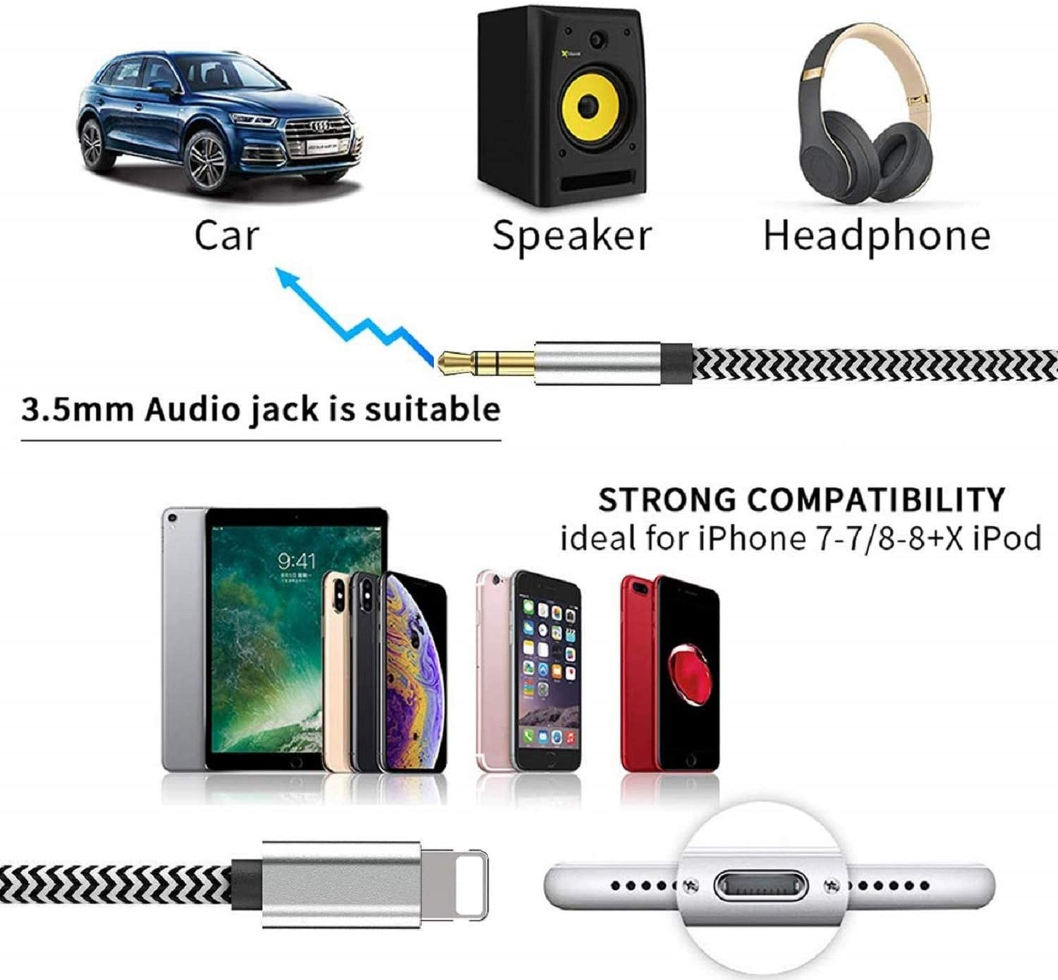 Lightning to 3.5mm Nylon Braided Audio Stereo Cable Compatible for iPhone 11//11 Pro//XS//XR//X 8 7 6//iPad iPhone Aux Cord for Car 3.3ft//1M Headphone Speaker Apple MFi Certified iPod to Car Stereo