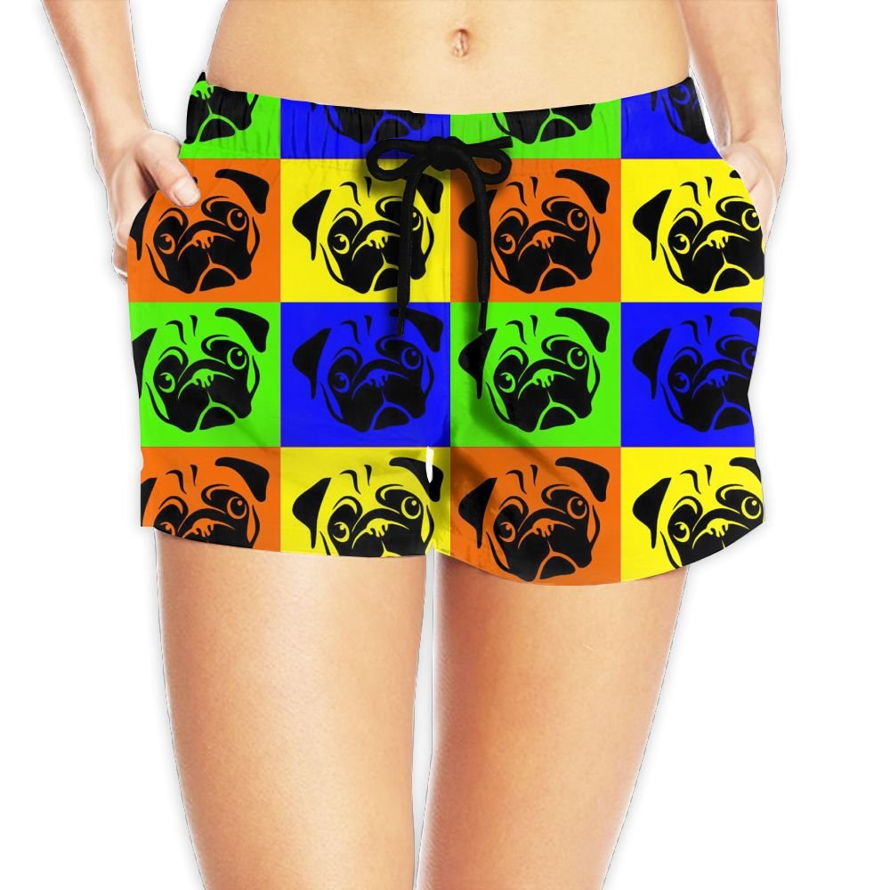Pug Decal Art Womens Novelty Elastic Waist Shorts Quick Dry Lightweight Beach Shorts by JIW Iaa
