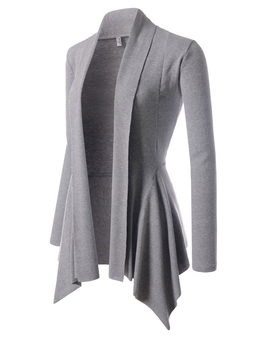 NEARKIN (NKNKWCD691) Womens Open Front Shawl Collar Draped Solid Cardigans GRAY US XS(Tag size S)