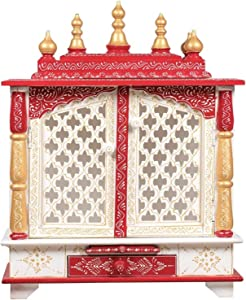 TAM Creatio Wooden Pooja Mandir |Indian| |Hindu| |Decoration| |Puja| |Cabinet| |Temple| |Bhagwan| |Stand| |Mandapam| |Wall| |Hanging| Decor for Home in USA (White Red)