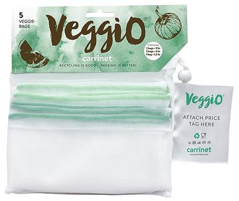 Veggio | 5 x Bolsas para la Compra de Frutas y Verduras | Reutilizable y con Certificado de Libre de BPA