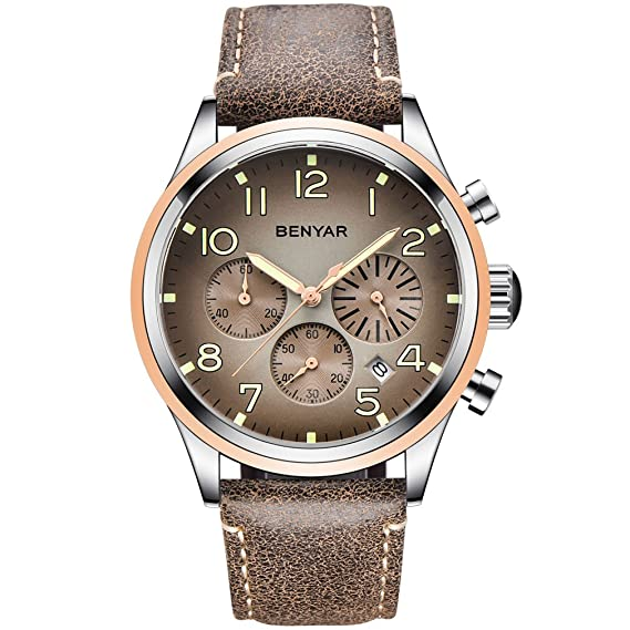 BENYAR Relojes Impermeables Números Luminosos Casual Correa de Cuero Hombre Reloj de Pulsera con Fecha
