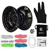 〔共同開発〕Magic YoYoXLeaningTech N11 Plus アルミ マジック ヨーヨー (ブラックブルー) 5本ストリングス+グローブ+アルミ製ヨーヨー +袋+ 10ボールベアリング