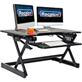Rocelco EADRB2 Standing Desk Converter - Side Paddle Easy Height Adjustable Sit Stand Desk Riser - Dual Monitor Capable…
