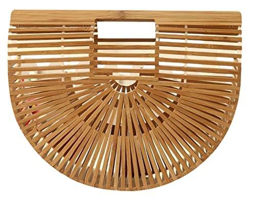 Obosoyo Women's Handmade Bamboo Handbag Summer Beach Sea Tote Bag Beige Large