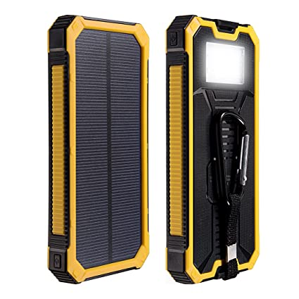 uxcell Solar Charger,12000mAh Double USB Power Bank Portable Solar Phone Battery Charger External Battery