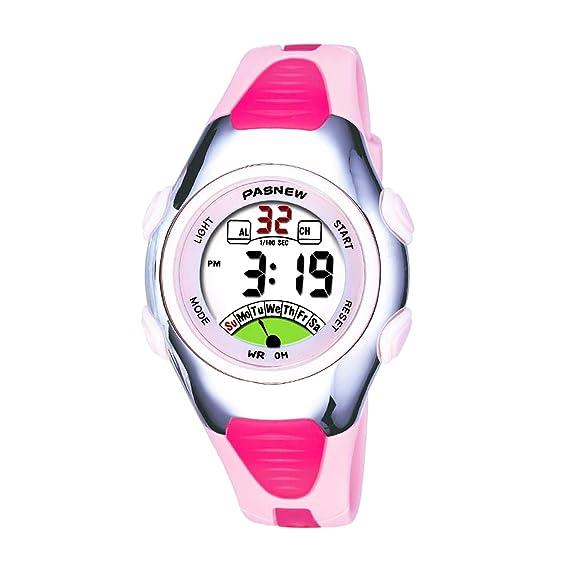 Pasnew-219 Reloj niña o Niño Reloj Deportivo Digital Reloj Alarma Luz Impermeable Cronómetro multifunción de Moda.: Amazon.es: Relojes