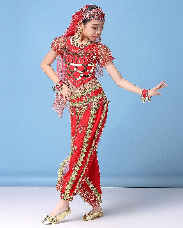 Details about  /Indian Belly Dancing Costumes Girls Dance Performance Wear Kids Halloween Dress