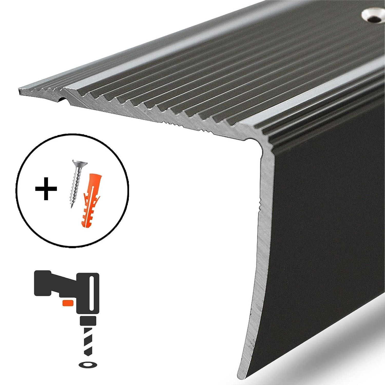 eloxiert Silber Alu Stufenkantenprofil Integral 134 cm L Form Breite 30 mm gelochtes Profil zum Schrauben