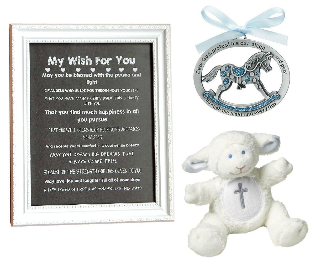 BigDream CATHOLIC BABY BAPTISM, Christening, Baby Shower, Original Print for Room Decor (blue horse)