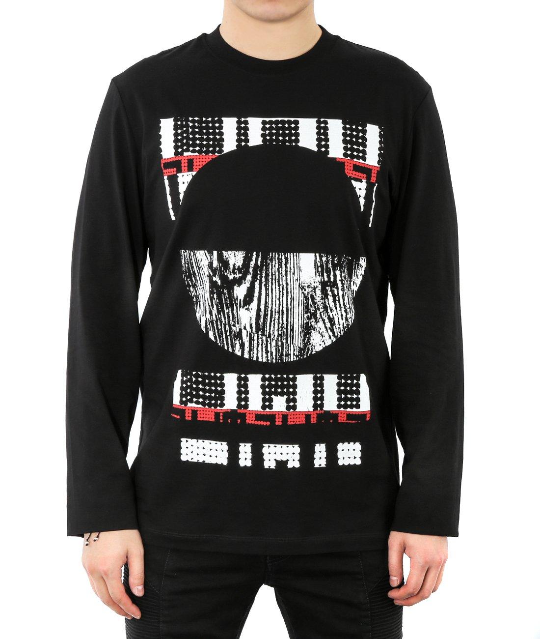 Wiberlux Alexander Mcqueen Men's Geometric Print Long Sleeve T-Shirt XL Black