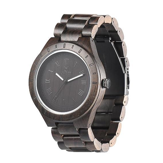 Uwood - Reloj de pulsera para hombre, madera de sándalo, estilo vintage