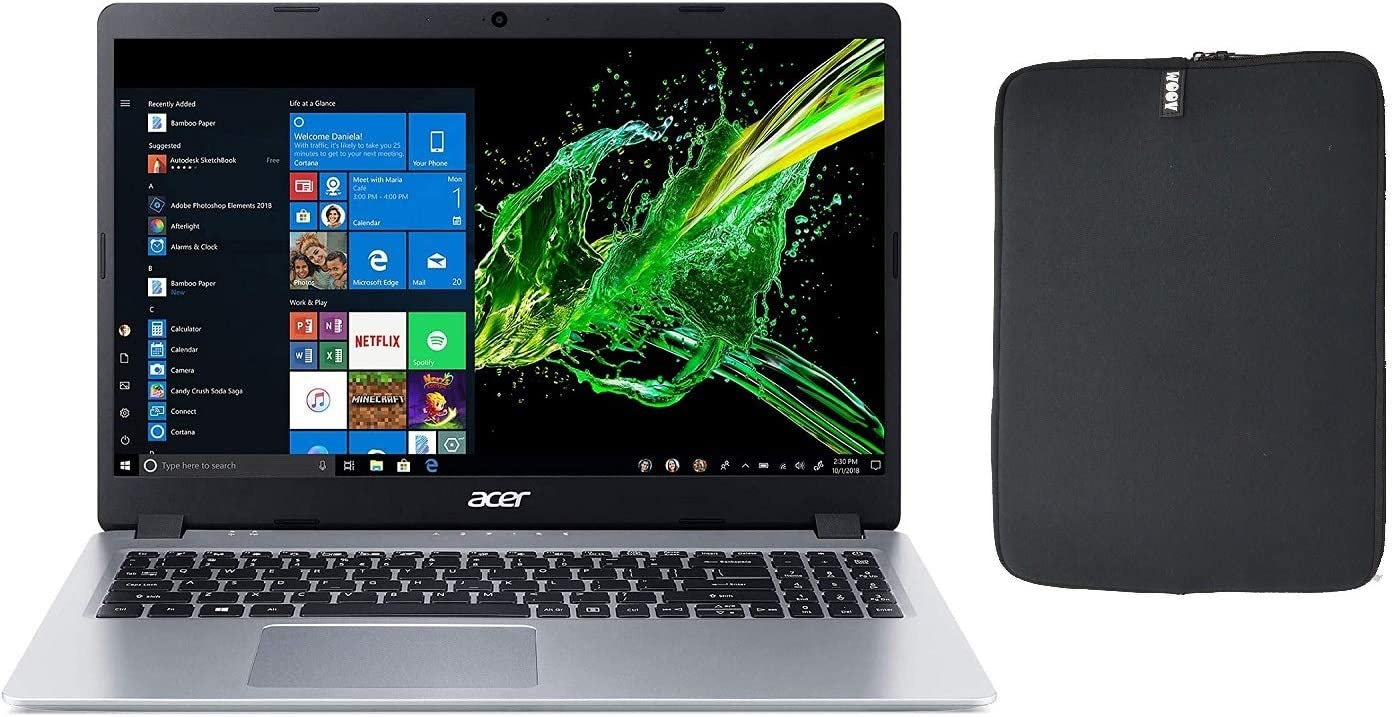 Acer Aspire 5 A515 Series Slim 15.6 Inch Full HD IPS Thin and Light Laptop, AMD Ryzen 3 3200U 2.6Ghz Processor, 4GB RAM, 256GB SSD, Backlit Keyboard, Woov Sleeve, HDMI, Windows 10