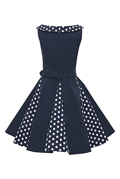 BlackButterfly Niñas Alexia Vestido de Lunares Vintage Años 50 (Azul Oscuro, 3