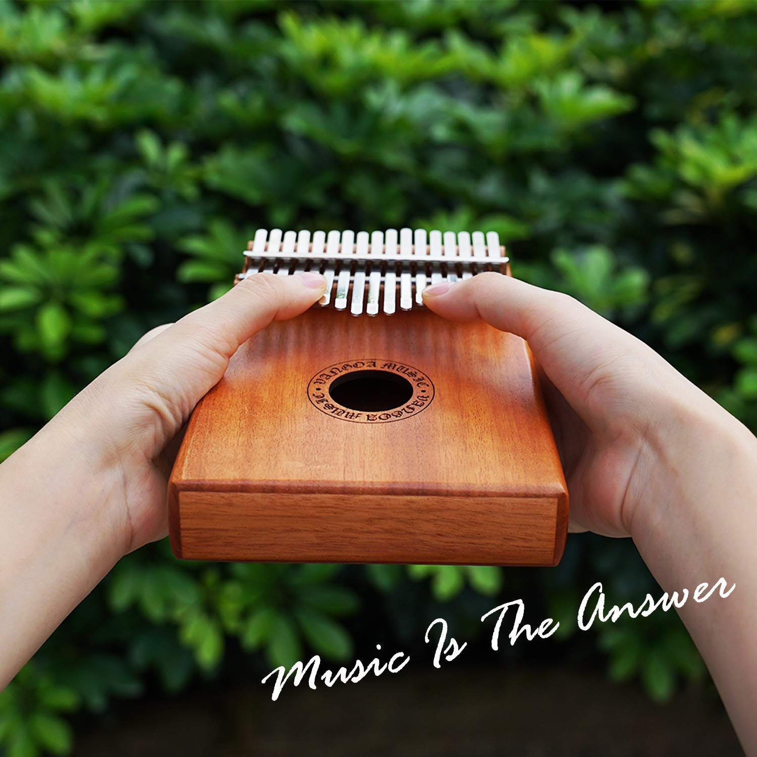 Vangoa Kalimba 17 keys African Thumb Piano kit with Rubber Finger Guards, Tuning Hammer, Carry Bag, Cloth bag, Pickup and Key stickers by Vangoa (Image #5)