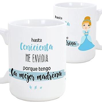 a2a2e0524 MUGFFINS Tazas Desayuno Originales para Regalar a Madrinas - hasta  Cenicienta me envidia Porque Tengo la Mejor Madrina - 350 ml- Tazas con  Frases y Mensajes ...