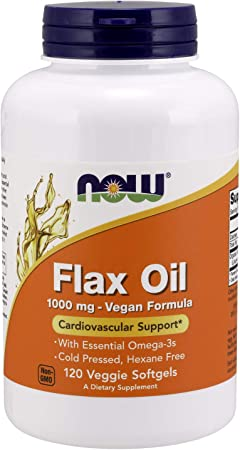 NOW Supplements, Flax Oil 1000 mg with Essential Omega-3s, Cold Pressed, Hexane Free, Vegan Formula, 120 Veg Softgels