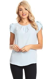 8991e6fcb LILBETTER Women Chiffon Blouse V Neck Short Sleeve Top Shirts at ...