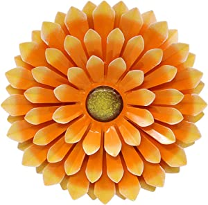 LIMEIDE Large Metal Flower Outdoor Wall Decor Garden Hanging Decoration Iron Floral Wall Art for Balcony Patio Porch Bedroom Living Room Office 14.2 inches(Orange)