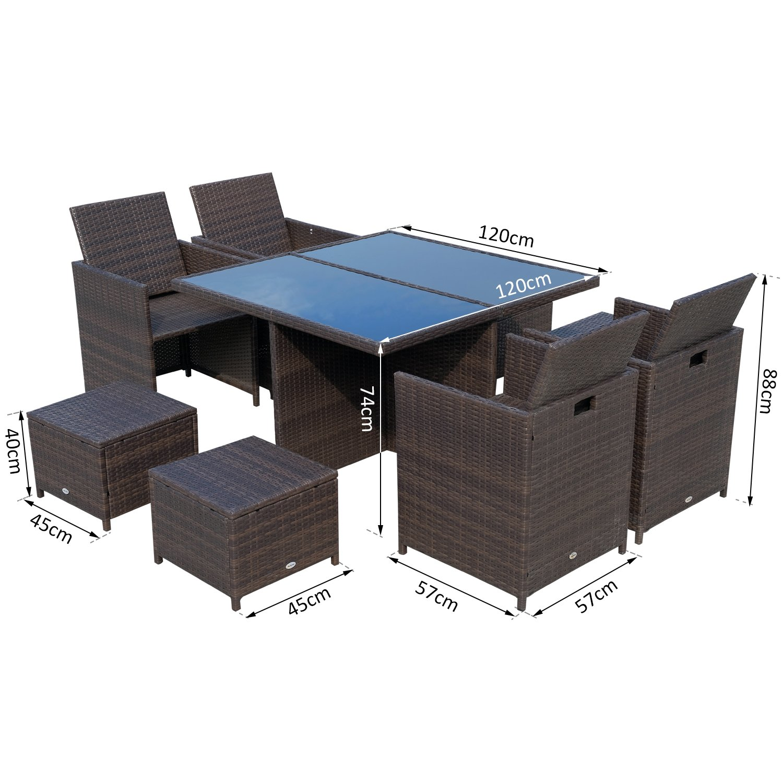 Conjunto de muebles de jardín encastrable 8 plazas 4 sillas ...