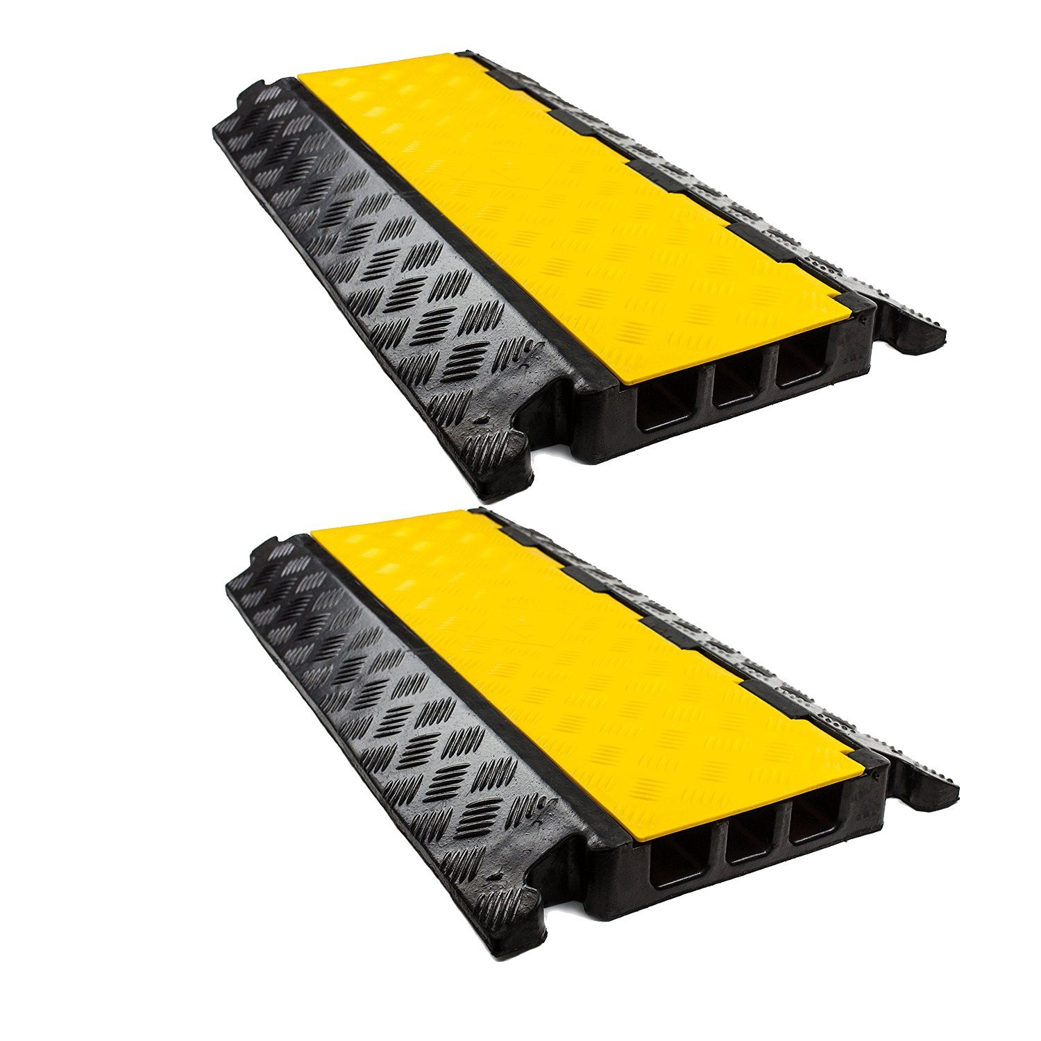 RK RK-CP-3C 3 Channel Modular Rubber Cable Protector Ramp (Straight, Qty:2)