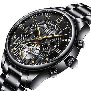 PRTQI Automática Hueco Tourbillon maquinaria Relojes Hombres 30m Vida Impermeable Deporte Reloj Luminoso Hombres Fecha Negocio mecánico Reloj de Pulsera de ...