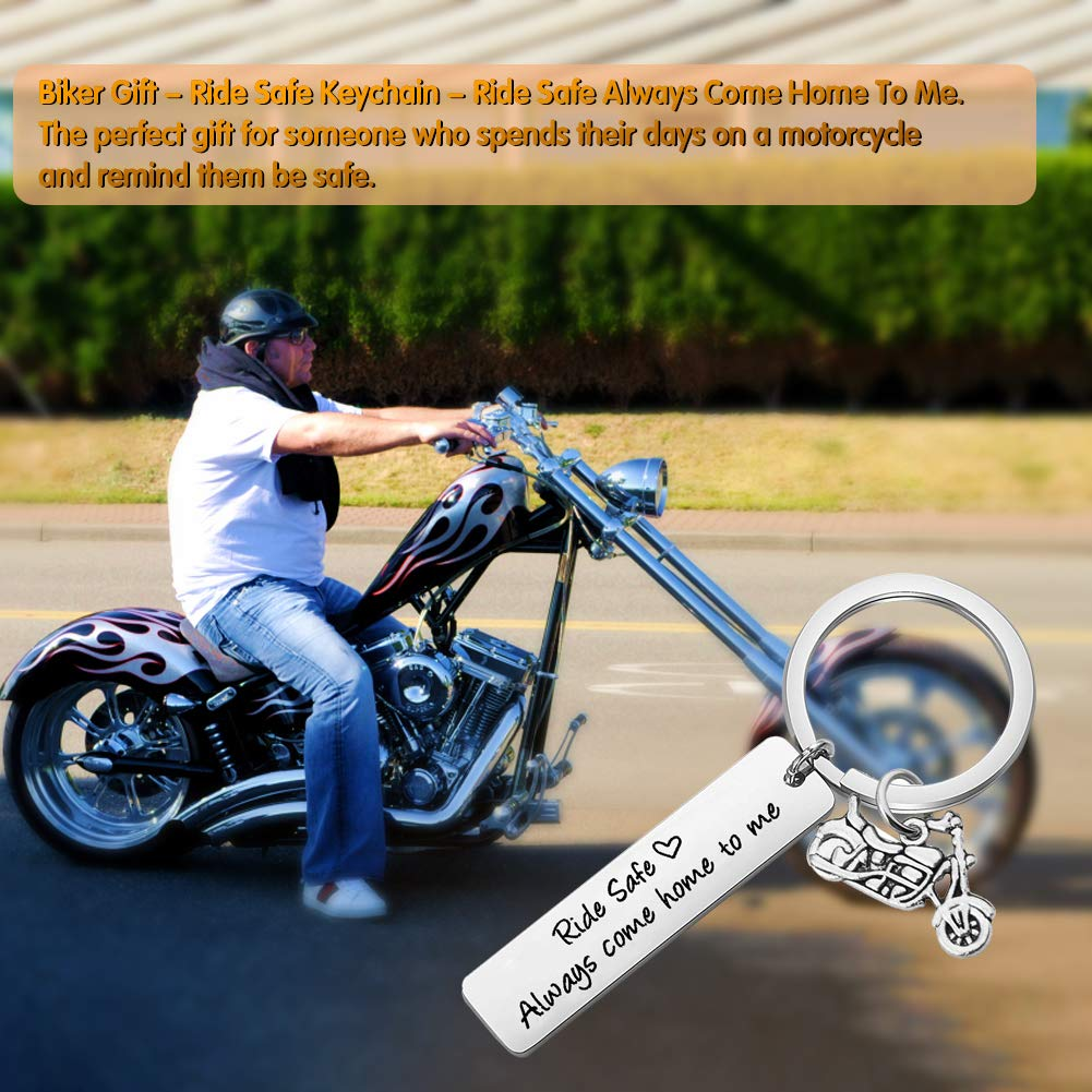 Biker Gift Ride Safe Always Come Home to Me Keychain Motorcycle Keychains Gift for Husband Son Family Valentines Day Keychains for Boyfriend Dad Girlfriend Key Chain Gift Motorcycles