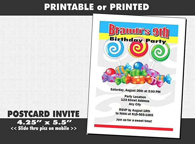 Amazon Candyland Birthday Party Invitation Printable Or