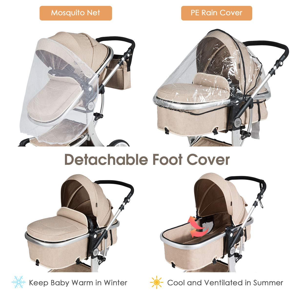 BABY JOY Baby Stroller 2-in-1 Convertible Foldable ...