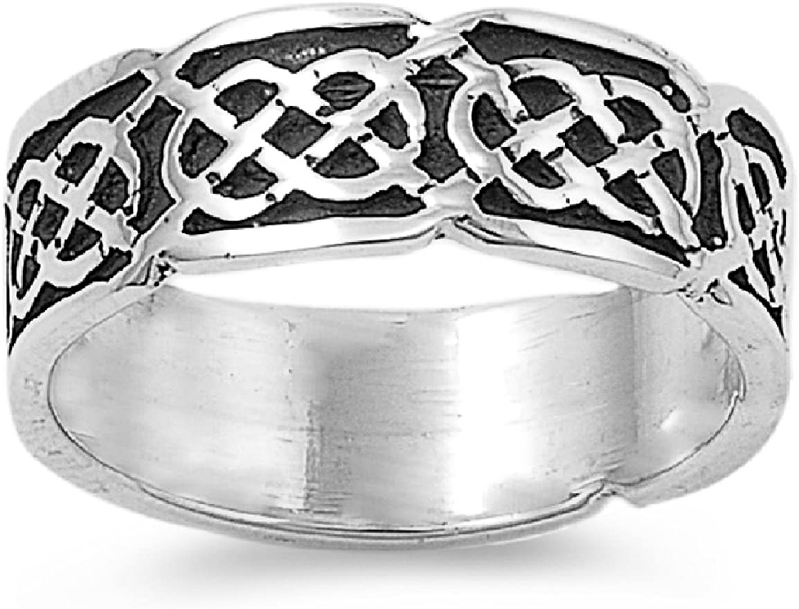 Princess Kylie 925 Sterling Silver Eternity Celtic Style Design Ring
