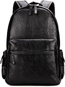 Kenox Vintage PU Leather Backpack School College Bookbag Laptop Computer Backpack - Black