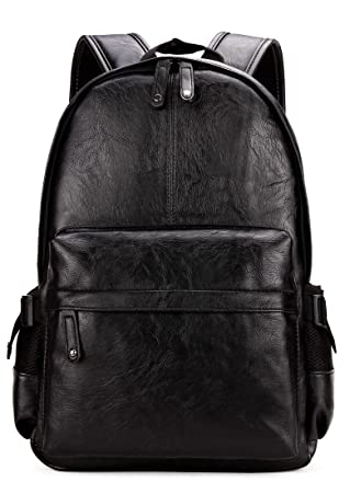 adb044cfe9e0 Kenox Vintage PU Leather Backpack School College Bookbag Laptop Computer  Backpack - Black