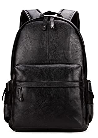 Amazon.com: Kenox Vintage PU Leather Backpack School College ...