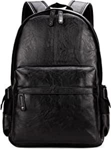 Kenox Vintage PU Leather Backpack School College Bookbag Laptop Computer Backpack - Black