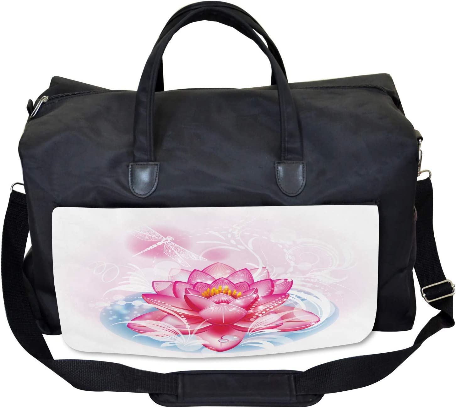 Ambesonne Flower Gym Bag Mandala Yoga Lotus Large Weekender Carry-on