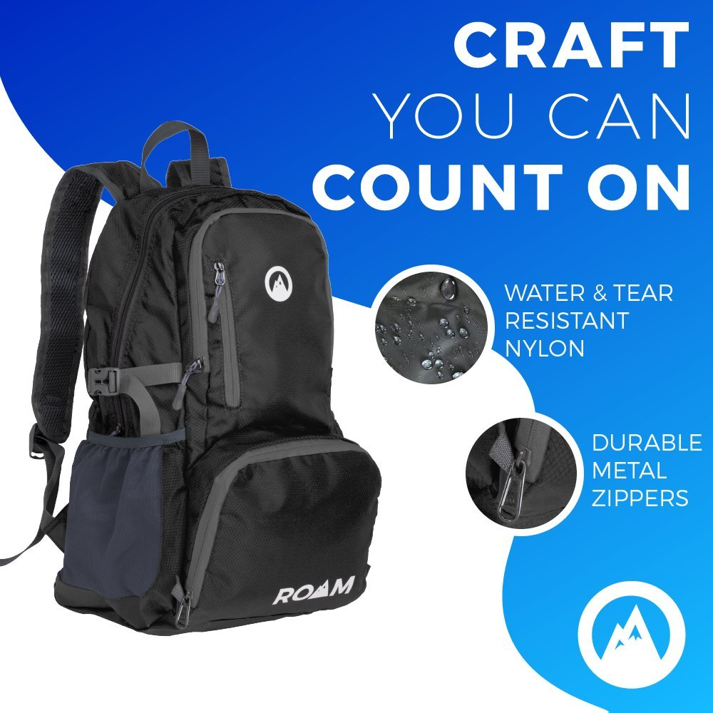 Roam Packable Backpack – Lightweight Foldable Daypack Water-Resistant, 25L, – Durable Tear-Resistant Nylon Weave – Daypack for Travel, Hiking, Backpacking, Camping, Mountaineering, Beach, Outdoors by Roam (Image #3)