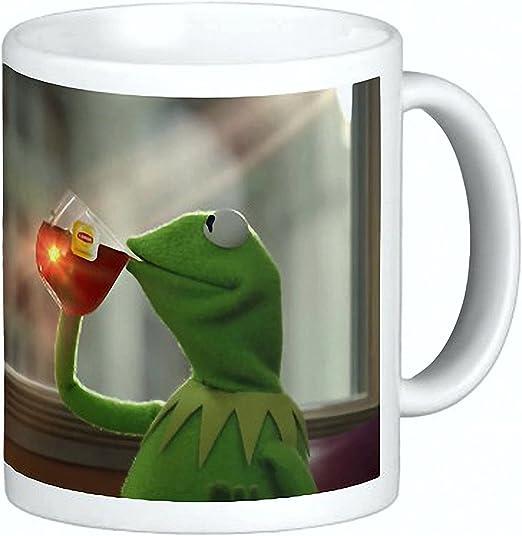Amazon Com Kermit Sipping Tea Coffee Ceramic Mug 15 Oz Thats None