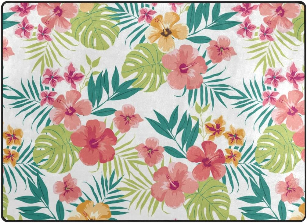 ABLINK Non-Slip Area Rugs Home Decor, Vintage Hawaiian Tropical Flowers Durable Floor Mat Living Room Bedroom Carpets Doormats 80 x 58 inches