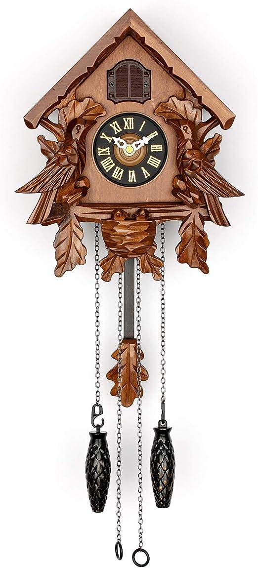 NEW Cuckoo Clock with Night Mode Hand Carved Birds Weights /& Swinging Pendulum