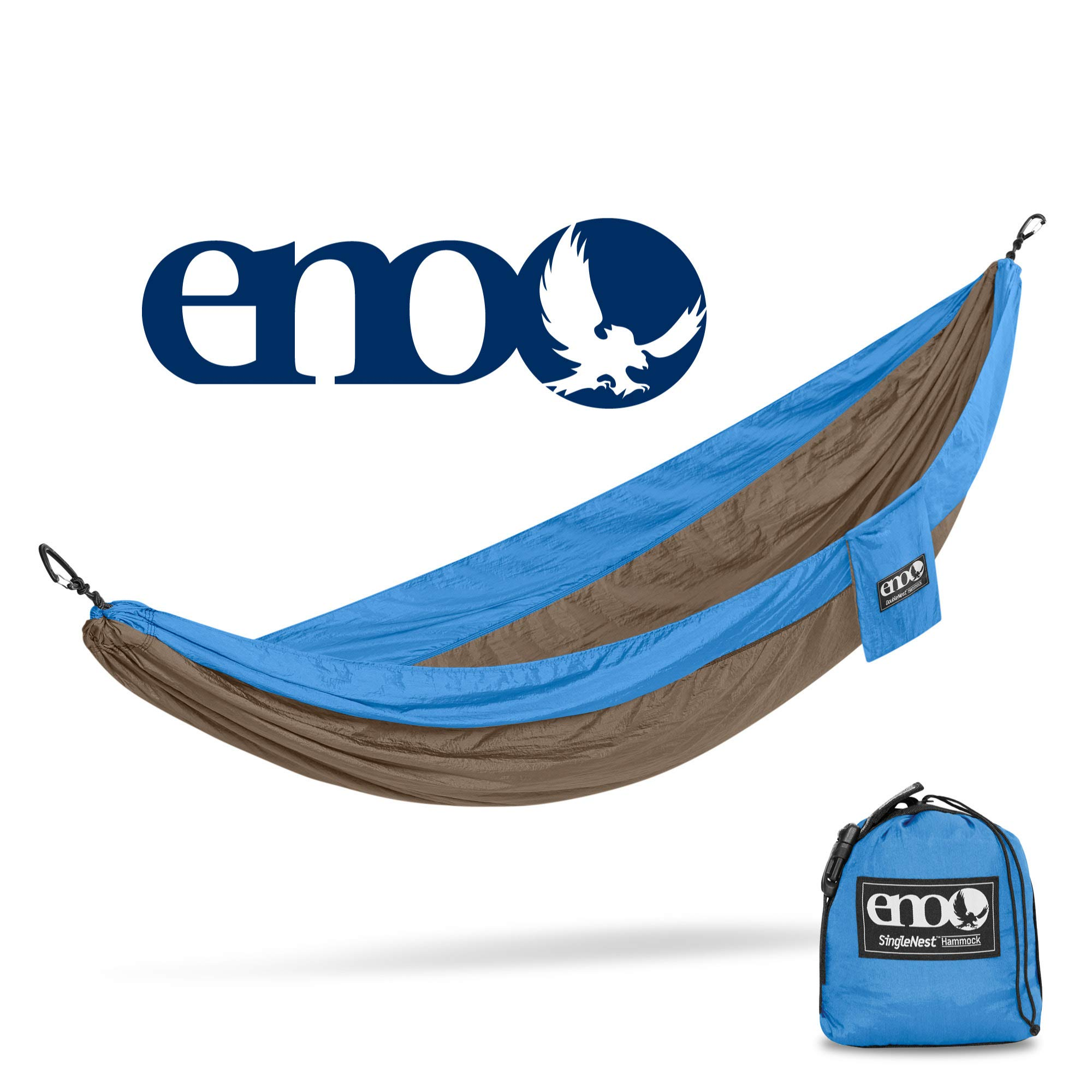 ENO - Eagles Nest Outfitters SingleNest Hammock, Portable Hammock for One, Teal/Khaki