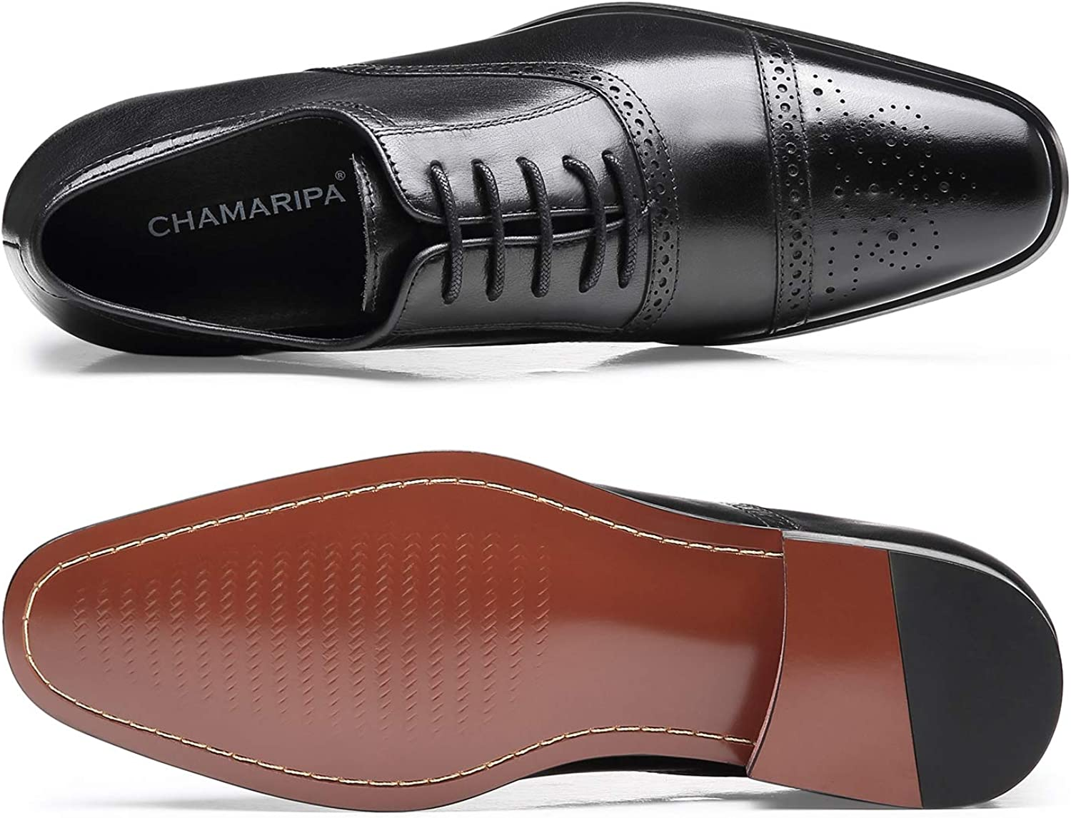 CHAMARIPA Mens Invisible Height Increasing Elevator Shoes-Black Oxford Dress Shoes Calfskin Leather-2.76 Inches Taller K6531-1