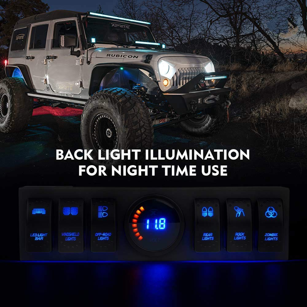 Eleafing Overhead 6 Gang Rocker Switch Panel Switch Pod in Blue Back Light with Control and Relay Box Source Control System Box for Wrangler JK JKU 2009-2018