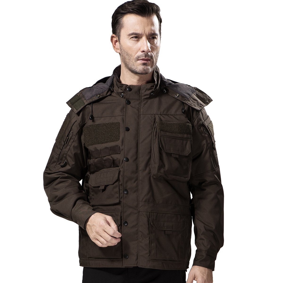 FREE SOLDIER Mens Tactical Jacket Thicken Cotton Parka Cardura Multi Pocket Outwear Coat Hooded Waterproof Jacket