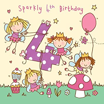 Twizler 4th Birthday Card For Girl With Fairy Princess And Glitter