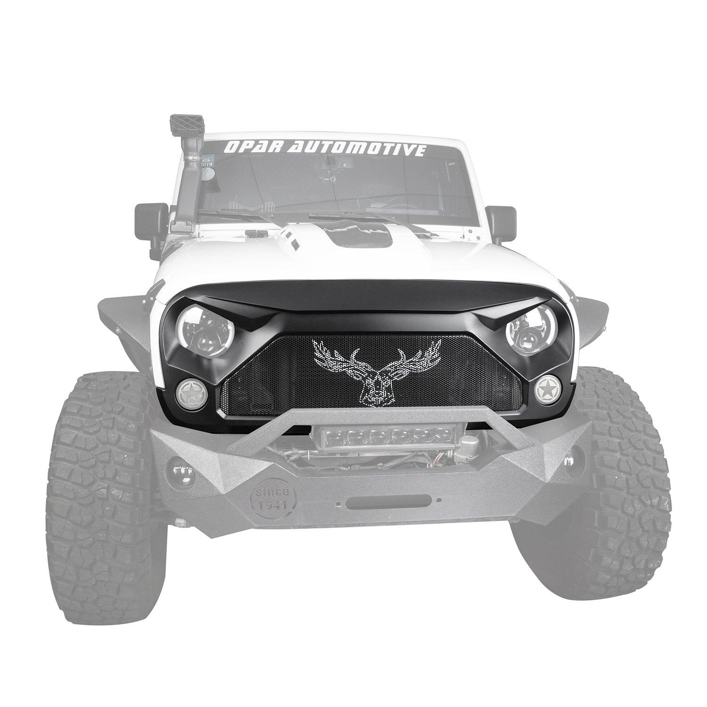 Hooke Road Jeep Wrangler Front Grill, US Flag Star Gladiator Vader Grille 2007-2018 Jeep JK Rubicon Sahara Sport